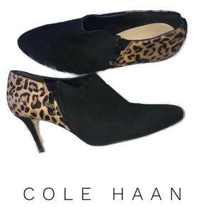 Cole Haan Black Leopard Ankle Boots Size 9.5